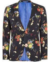 TOPMAN - Floral Printed Skinny Blazer - Lyst