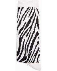 TOPMAN Zebra Print Tube Sock - Black