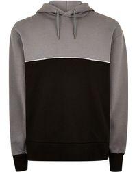 TOPMAN - Black And Grey Panel Hoodie - Lyst