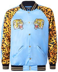 Jaded - Blue And Leopard Print Tiger Print Bomber Jacket* - Lyst