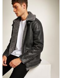 TOPMAN - Overdyed Faux Shearling Jacket - Lyst