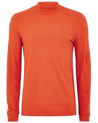 TOPMAN - Orange Muscle Turtle Neck T-shirt - Lyst