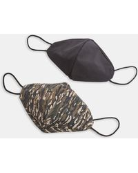 TOPMAN 2 Pack Black And Camouflage Print Fashion Face Mask - Green