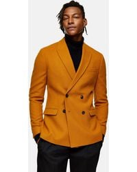 TOPMAN Camel Warm Handle Double Breasted Skinny Fit Suit Blazer With Peak Lapel - Brown