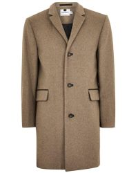 TOPMAN - Oat Overcoat With Wool - Lyst