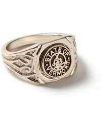 TOPMAN - Gold Look Engraved Vermont Ring* - Lyst