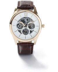 TOPMAN - Brown Leather Crocodile Strap Watch - Lyst
