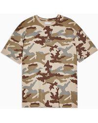 TOPMAN Camouflage Print T-shirt - Brown