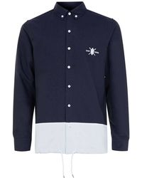 Daily Paper - Grey And Navy Panel Shirt - Lyst