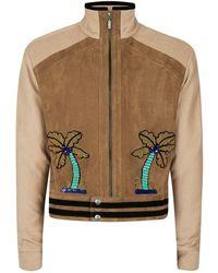TOPMAN Design Brown Palms Faux Suede Jacket