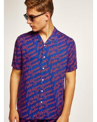 TOPMAN - Blue And Red Palm Springs Short Sleeve Shirt - Lyst