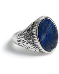 TOPMAN Silver Stone Ring - Blue