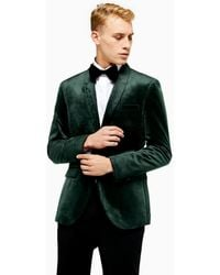 TOPMAN Single Breasted Skinny Fit Velvet Blazer With Shawl Lapel - Green