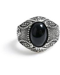TOPMAN Engraved Antique Ring - Black