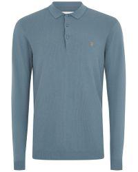 TOPMAN - Farah's Blue 'arndale' Long Sleeve Polo - Lyst