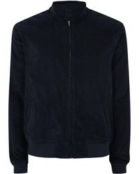 TOPMAN - Navy Corduroy Harrington Jacket - Lyst