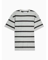 TOPMAN Grey And Black Stripe Loopback T-shirt - Gray