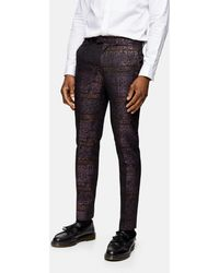 TOPMAN And Black Jacquard Skinny Fit Suit Trouser - Purple