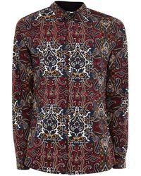 TOPMAN - Burgundy Paisley Stretch Skinny Smart Shirt - Lyst