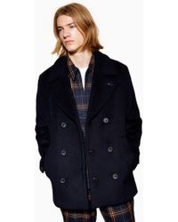 TOPMAN - Pea Coat With Wool - Lyst