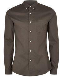TOPMAN - Grey Stretch Skinny Oxford Shirt - Lyst