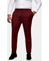 TOPMAN Big & Tall Burgundy Skinny Fit Suit Trousers - Red