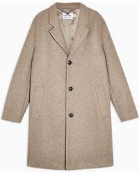 TOPMAN Oat Classic Overcoat - Brown
