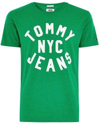 TOPMAN - Tommy Jeans Green Essential Logo T-shirt - Lyst