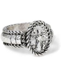 TOPMAN Silver Engraved Ring - Metallic