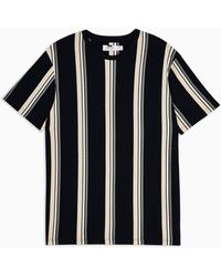 TOPMAN Navy And Tan Stripe T-shirt - Blue