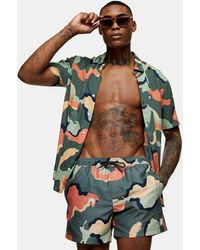 TOPMAN Considered Colourful Camouflage Print Swim Short - Orange