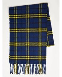 TOPMAN - Blue And Yellow Check Woven Scarf - Lyst