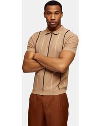 TOPMAN Tan Stripe Zip Knitted Pol - Brown