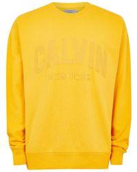 TOPMAN - Calvin Klein Yellow Sweatshirt - Lyst