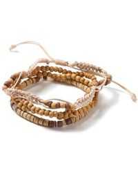 TOPMAN - Brown Beaded Bracelet - Lyst