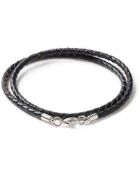 TOPMAN - Navy Leather Bracelet - Lyst