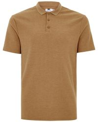 TOPMAN - Tan Waffle Polo T-shirt - Lyst