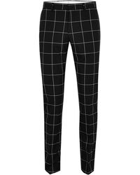 SELECTED - Black Grid Check Trouser - Lyst