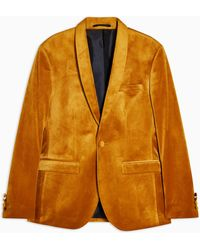 TOPMAN Gold Velvet Single Breasted Skinny Fit Blazer With Shawl Lapel - Yellow