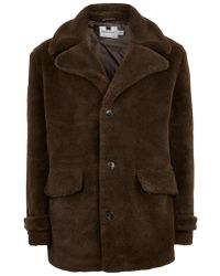 TOPMAN - Brown Faux Fur Pea Coat - Lyst