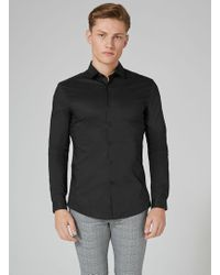 TOPMAN - Black Stretch Long Sleeve Shirt - Lyst