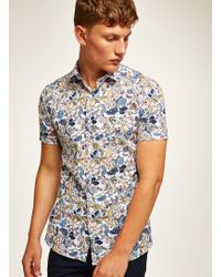 b0a087b4349 Topman White And Blue Stripe Muscle Short Sleeve Shirt in White for ...