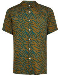 TOPMAN - Zebra Print Revere Shirt - Lyst