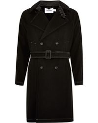 TOPMAN - Black Contrast Stitch Mac With Wool - Lyst