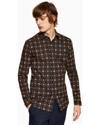 TOPMAN - Geometric Chain Stretch Skinny Shirt - Lyst