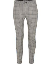 TOPMAN - Black And White Check Taping Stretch Skinny Chino - Lyst
