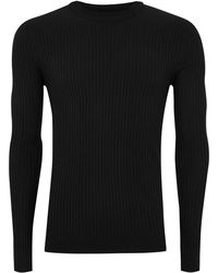 TOPMAN - Black Muscle Ribbed Jumper - Lyst