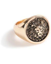 TOPMAN Gold Lion Ring - Metallic