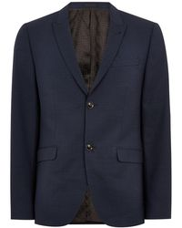 TOPMAN - Premium Navy Pindot Skinny Fit Blazer - Lyst