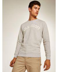 TOPMAN - Lyle & Scott Grey Logo Sweatshirt - Lyst